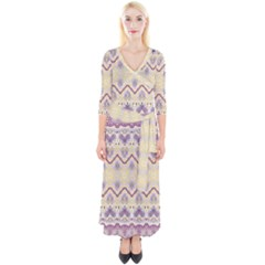 Boho Violet Yellow Quarter Sleeve Wrap Maxi Dress by SpinnyChairDesigns