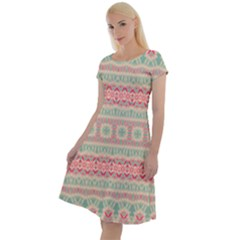 Boho Teal Pink Classic Short Sleeve Dress by SpinnyChairDesigns