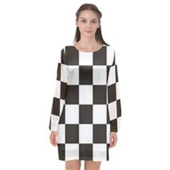 Chequered Flag Long Sleeve Chiffon Shift Dress  by abbeyz71