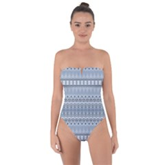 Boho Faded Blue Grey Tie Back One Piece Swimsuit by SpinnyChairDesigns