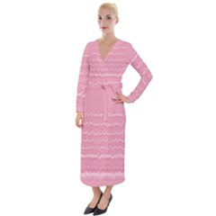 Boho Pink Stripes Velvet Maxi Wrap Dress by SpinnyChairDesigns