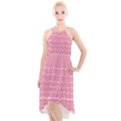Boho Pink Stripes High-low Halter Chiffon Dress  by SpinnyChairDesigns