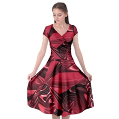 Candy Apple Crimson Red Cap Sleeve Wrap Front Dress by SpinnyChairDesigns