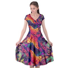 Colorful Boho Abstract Art Cap Sleeve Wrap Front Dress by SpinnyChairDesigns