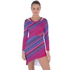 Boho Pink Blue Stripes Asymmetric Cut-out Shift Dress by SpinnyChairDesigns
