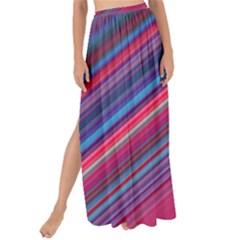 Boho Pink Blue Stripes Maxi Chiffon Tie-up Sarong by SpinnyChairDesigns