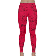 Scarlet Red Music Notes Classic Yoga Leggings by SpinnyChairDesigns