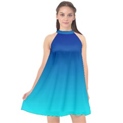 Aqua Blue And Indigo Ombre Halter Neckline Chiffon Dress  by SpinnyChairDesigns