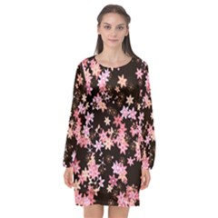 Pink Lilies On Black Long Sleeve Chiffon Shift Dress  by SpinnyChairDesigns