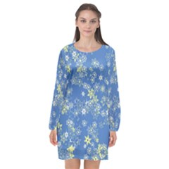 Yellow Flowers On Blue Long Sleeve Chiffon Shift Dress  by SpinnyChairDesigns