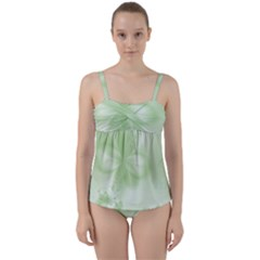 Tea Green Floral Print Twist Front Tankini Set by SpinnyChairDesigns