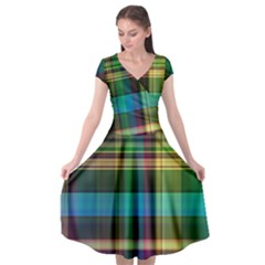 Colorful Madras Plaid Cap Sleeve Wrap Front Dress by SpinnyChairDesigns