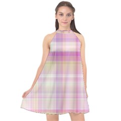 Pink Madras Plaid Halter Neckline Chiffon Dress  by SpinnyChairDesigns