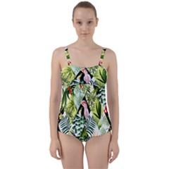 Flamingo Ropical Twist Front Tankini Set by designsbymallika