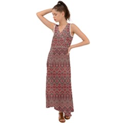 Boho Rustic Pink V-neck Chiffon Maxi Dress by SpinnyChairDesigns