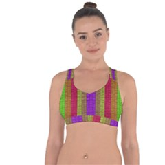 Colors Of A Rainbow Cross String Back Sports Bra by pepitasart