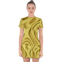 Golden Wave  Drop Hem Mini Chiffon Dress by Sabelacarlos