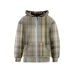 Beige Tan Madras Plaid Kids  Zipper Hoodie