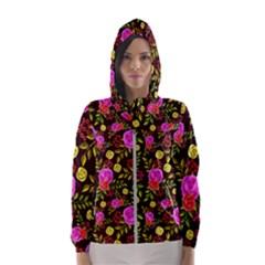 Background Rose Wallpaper Women s Hooded Windbreaker by HermanTelo