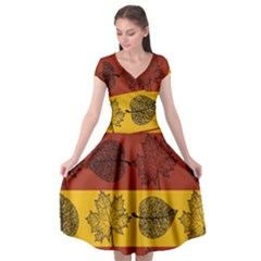 Autumn Leaves Colorful Nature Cap Sleeve Wrap Front Dress by Mariart
