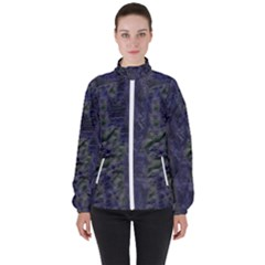 Color Fine Textures Blue Women s High Neck Windbreaker by AnjaniArt
