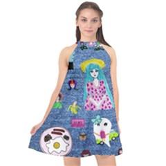 Blue Denim And Drawings Halter Neckline Chiffon Dress  by snowwhitegirl