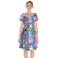 Blue Denim And Drawings Daisies Short Sleeve Bardot Dress by snowwhitegirl