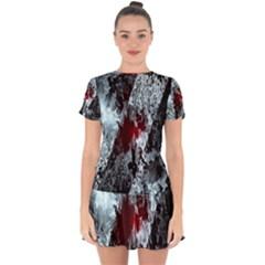 Flamelet Drop Hem Mini Chiffon Dress by Sparkle