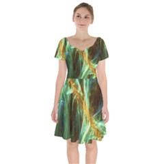 Abstract Illusion Short Sleeve Bardot Dress by Sparkle