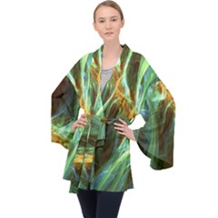 Abstract Illusion Long Sleeve Velvet Kimono  by Sparkle
