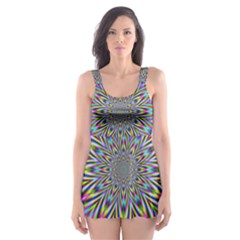 Psychedelic Wormhole Skater Dress Swimsuit by Filthyphil