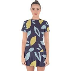 Laser Lemon Navy Drop Hem Mini Chiffon Dress by andStretch