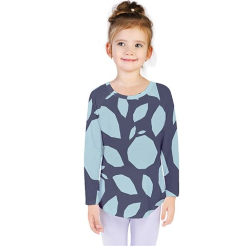 Orchard Fruits In Blue Kids  Long Sleeve Tee by andStretch