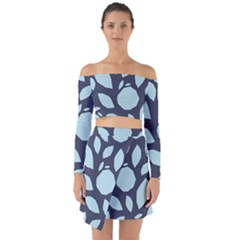 Orchard Fruits In Blue Off Shoulder Top With Skirt Set by andStretch