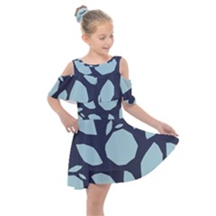 Orchard Fruits In Blue Kids  Shoulder Cutout Chiffon Dress by andStretch
