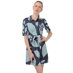 Orchard Fruits In Blue Belted Shirt Dress by andStretch