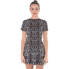 Modern Tribal Geometric Print Drop Hem Mini Chiffon Dress