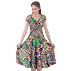 Pop Art - Spirals World 1 Cap Sleeve Wrap Front Dress by EDDArt