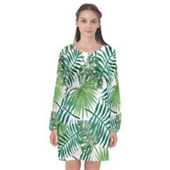 Green Tropical Leaves Long Sleeve Chiffon Shift Dress