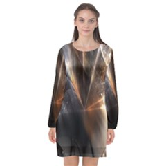 Digital Geometry Long Sleeve Chiffon Shift Dress  by Sparkle