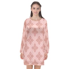 Pattern Floral Design Peach Long Sleeve Chiffon Shift Dress  by brightlightarts