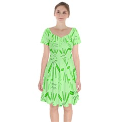 Electric Lime Short Sleeve Bardot Dress by Janetaudreywilson
