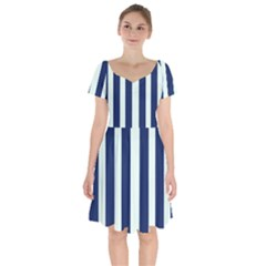 Navy In Vertical Stripes Short Sleeve Bardot Dress by Janetaudreywilson