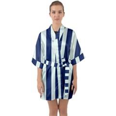 Navy In Vertical Stripes Half Sleeve Satin Kimono