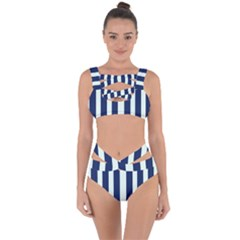 Navy In Vertical Stripes Bandaged Up Bikini Set  by Janetaudreywilson