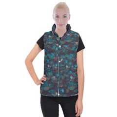 Realeafs Pattern Women s Button Up Vest by Sparkle