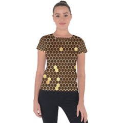Gold Honeycomb On Brown Short Sleeve Sports Top  by Angelandspot