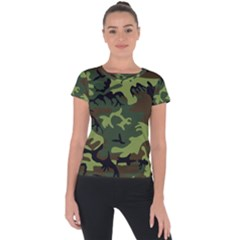 Forest Camo Pattern, Army Themed Design, Soldier Short Sleeve Sports Top  by Casemiro