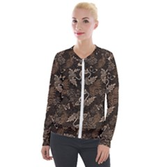 Nature Pattern Inverse Velvet Zip Up Jacket by Abe731