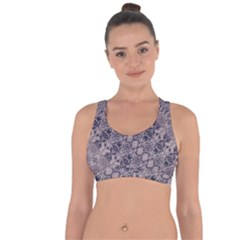 Violet Textured Mosaic Ornate Print Cross String Back Sports Bra by dflcprintsclothing